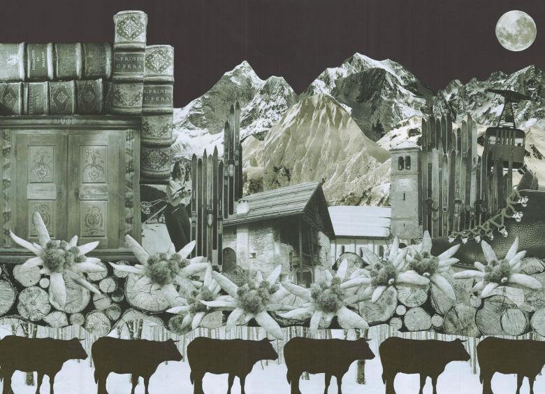 Black and white paper collage with vintage details from mountain environment: old books and ski, alpine stars, cows, a decorated dresser, a chalet and an elegant lady on a ski lift, 2015