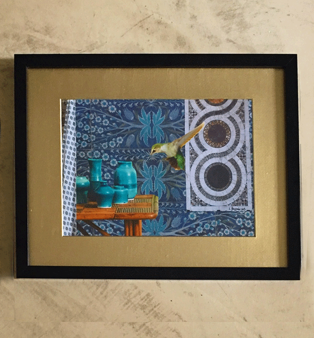 Paper collage with a small colibrì trying to get the prodigious nectar of the Sultan from different vases. Gold acrylic frame, 2017