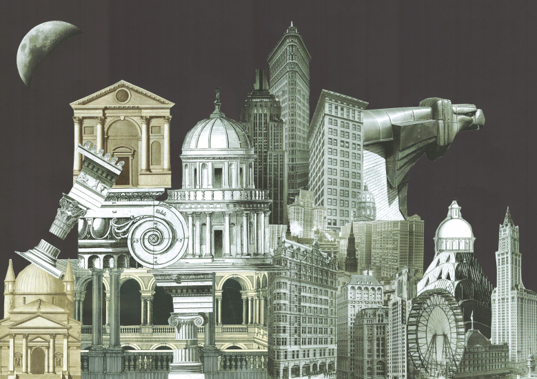 Black and white paper collage with a mix and match of architectural elements from the ancient past comined with the ones from last century, 2015