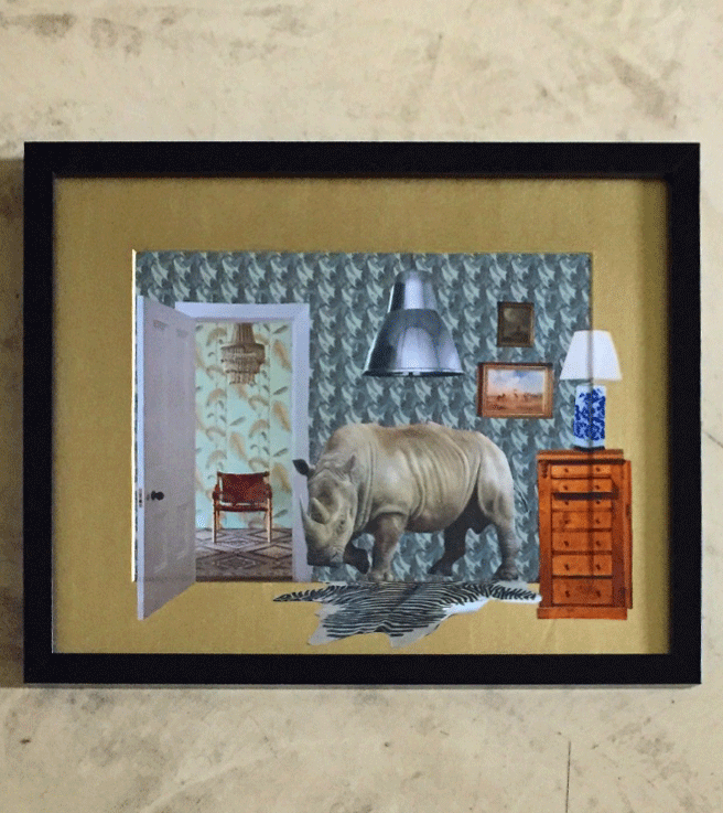 Paper collage with a strong rhino on a zebra carpet in a waiting room. Gold acrylic frame, 2017