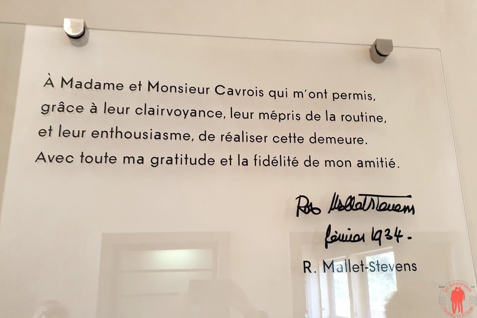 Plaque Remerciement Mallet Stevens Villa Cavrois Croix
