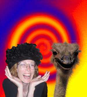 woman in a hat with an ostrich on a psychedelic background