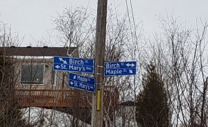 Street signs at 3-way intersection in residential neighbourhood of sault ste. marie, ontario CANADA. Birch St.Mary's and Maple Streets.