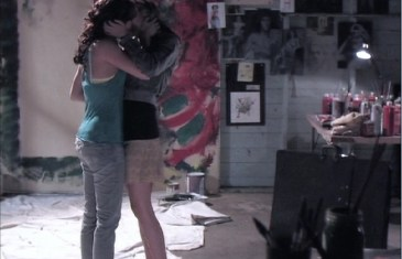 Spencer kiss Ashley, get closer, hug, lesbian kiss, in art room, lesbian series