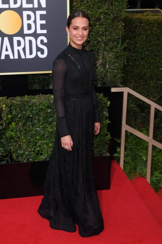 Mandatory Credit: Photo by David Fisher/REX/Shutterstock (9307691ej) Alicia Vikander 75th Annual Golden Globe Awards, Arrivals, Los Angeles, USA - 07 Jan 2018