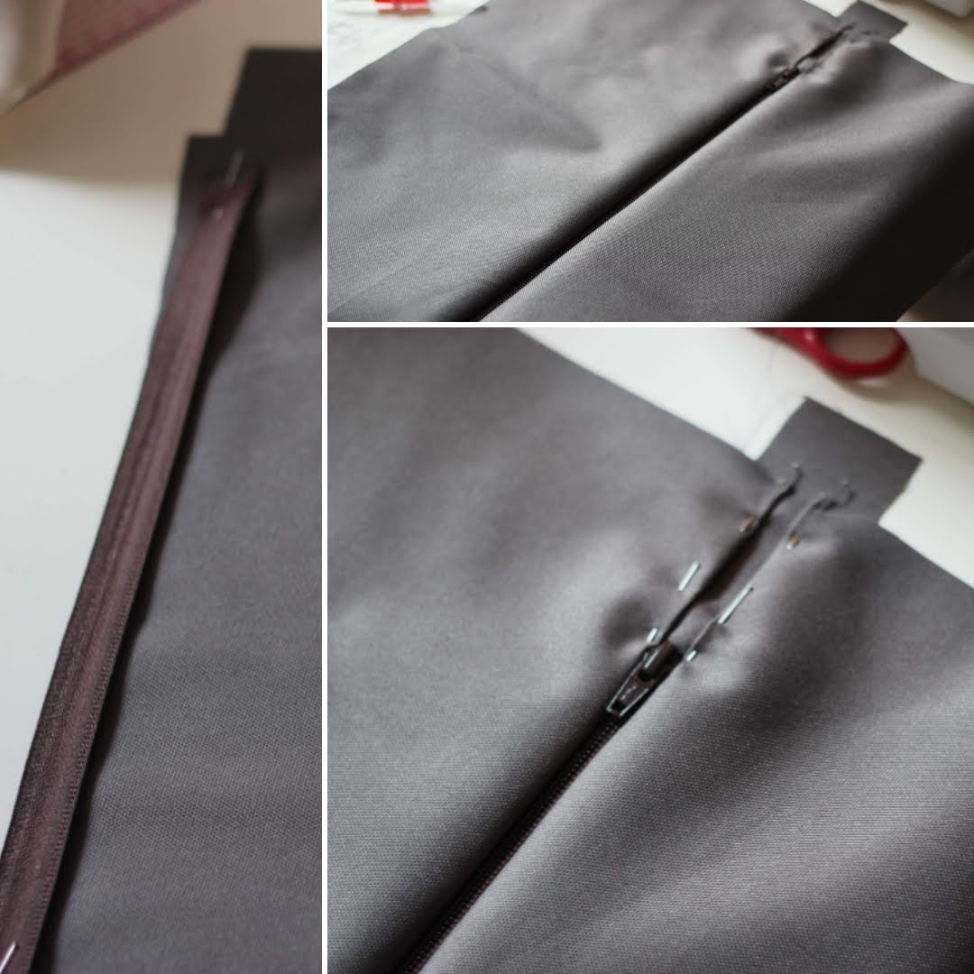 sewing the zipper for the backpack top