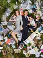Alfie, Kirsten, Miles and Elly surrounded by seven days of their own rubbish and trash on May 15, 2011 in Pasadena, California. (Photo by Gregg Segal/Barcroft Media)