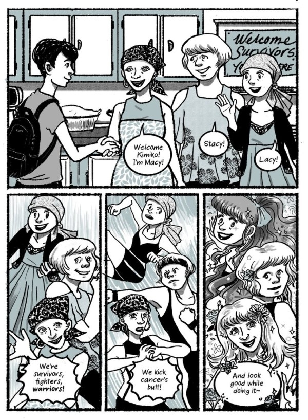 "A page from Kimiko Does Cancer showing Kimiko meeting three women in a cancer support group. They introduce themselves and then transform magic girl style into feminine fighters. ""I'm Macy, Stacy, Lacy! We're survivors, fighters, warriors! We kick cancer's butt! And look good while doing it~"""