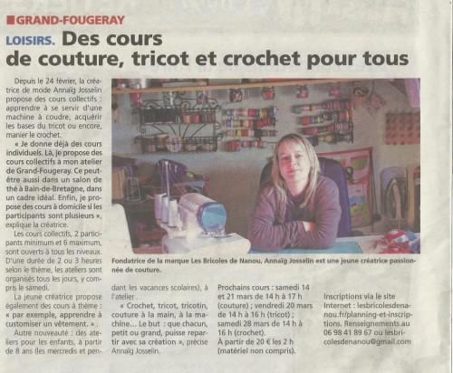 presse article éclaireur cours couture