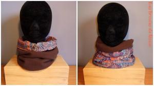 snood réversible en tissu polaire marron et cotonnade motifs ethniques violets et orangés.
