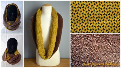 tour de cou fourrure marron et coton jaune