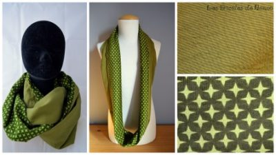 tour de cou velours ras et coton vert
