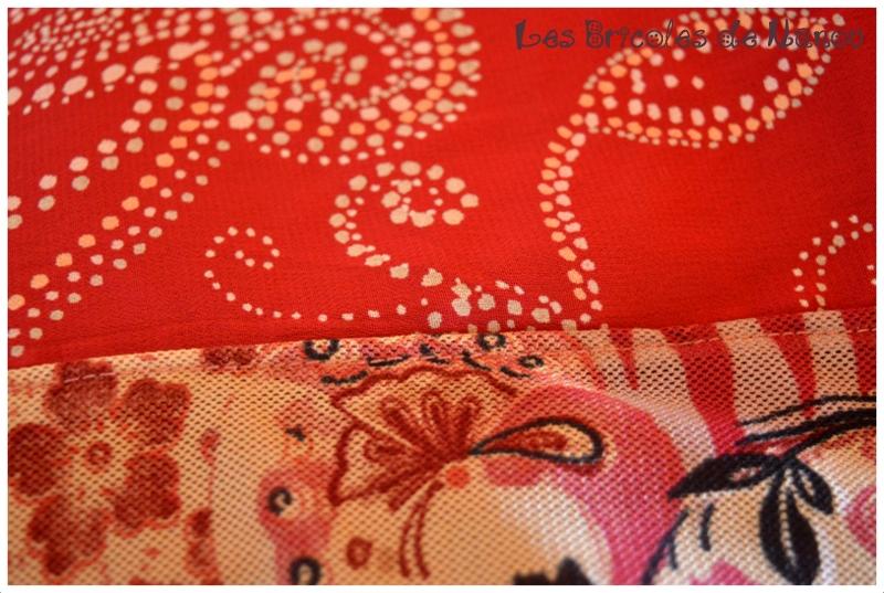 Tour de cou 4 carrés de tissu rouge rose violet