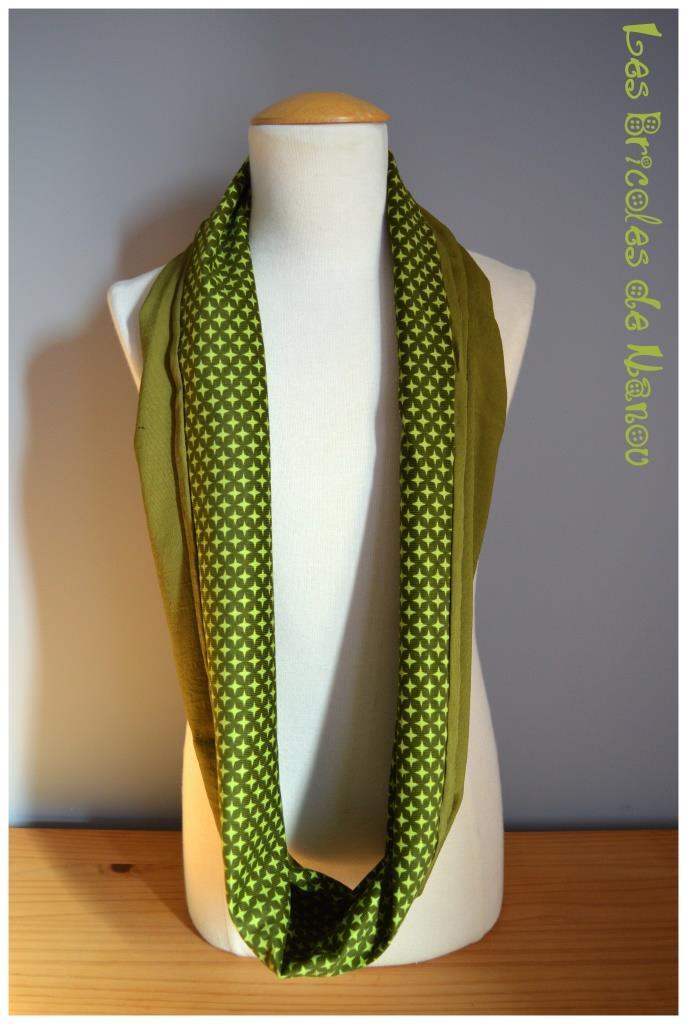 Tour de cou coton vert et velours ras vert à étoiles