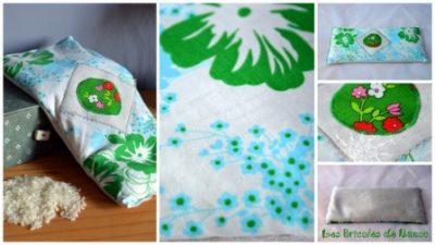 Bouillotte rectangulaire blanche feuillages et fleurs