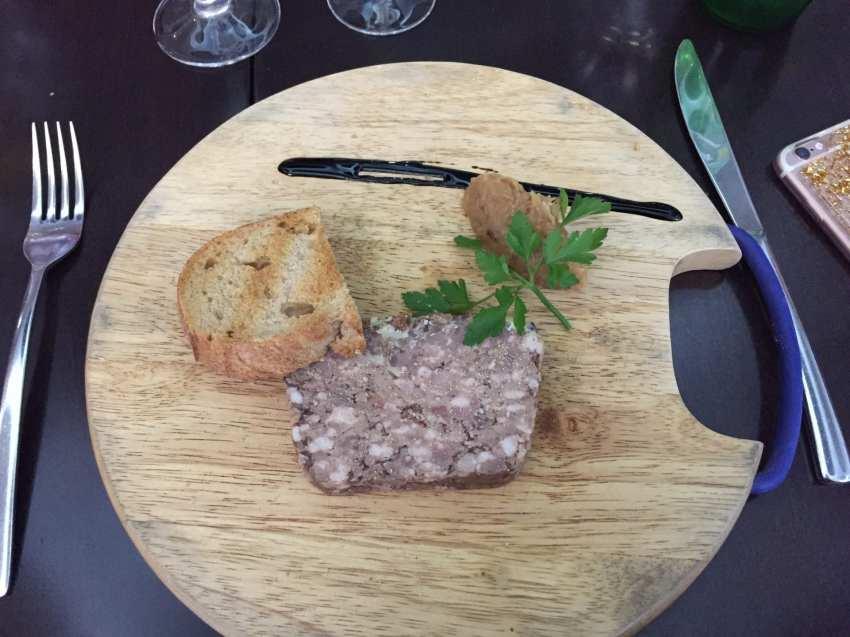 Terrine de gibier, compotée d'oignons et toast grillé (menu 19,9€)