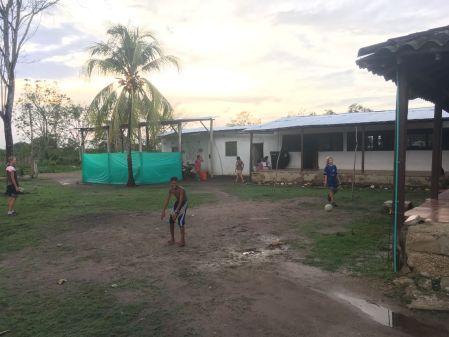 Partie de foot dans la ferme