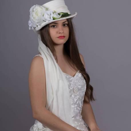 Haut de forme blanc Mariée