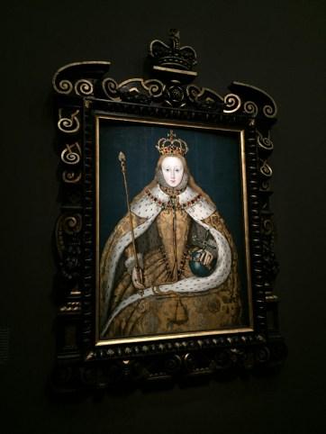 """artiste anglais, """"Elisabeth Ière"""", vers 1600, 127,3 x 99,7 cm, huile sur panneau, National Portrait Gallery, Londres"""