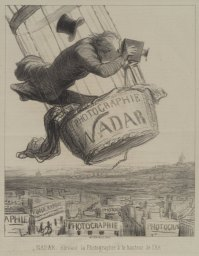 Nadar élevant la Photographie à la hauteur de l'Art., lithographie d'Honoré Daumier parue dans Le Boulevard, le 25 mai 1863.