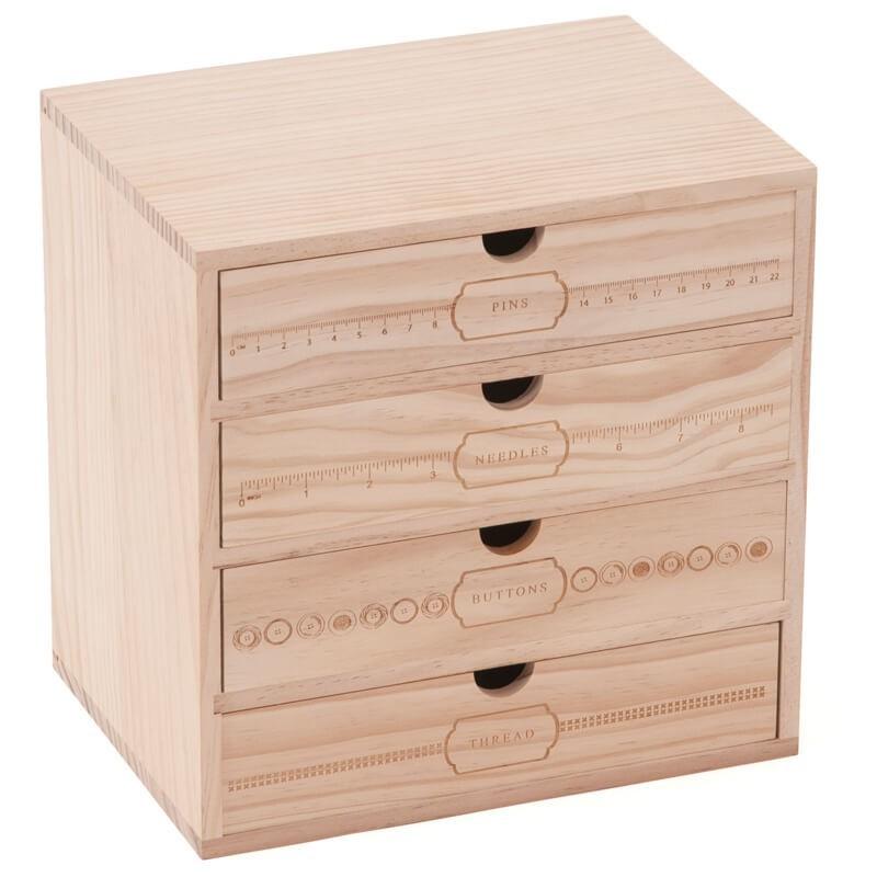boite de rangement en bois 4 tiroirs milward