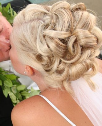 Bride and Groom. Wedding hair up do with updo curls and veil by Les Ciseaux St. Armands