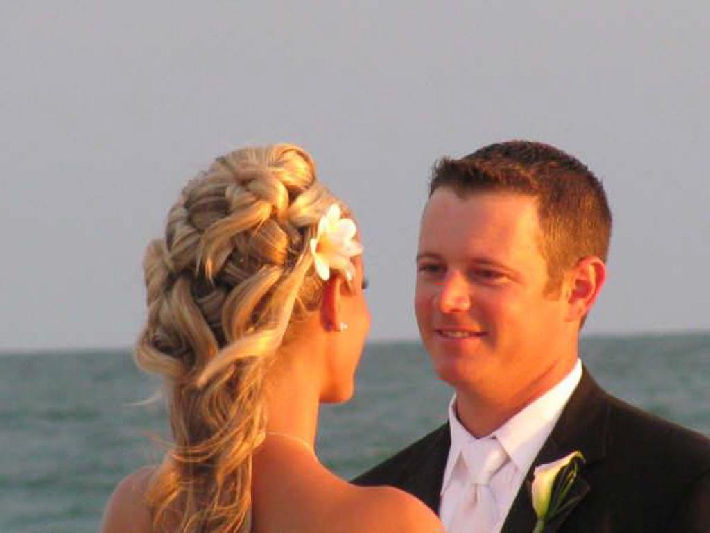 Beach Wedding Brides Hair Half Updo Curls And Braid By Les Ciseaux