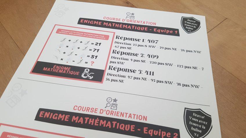énigme mathématique course d'orientation