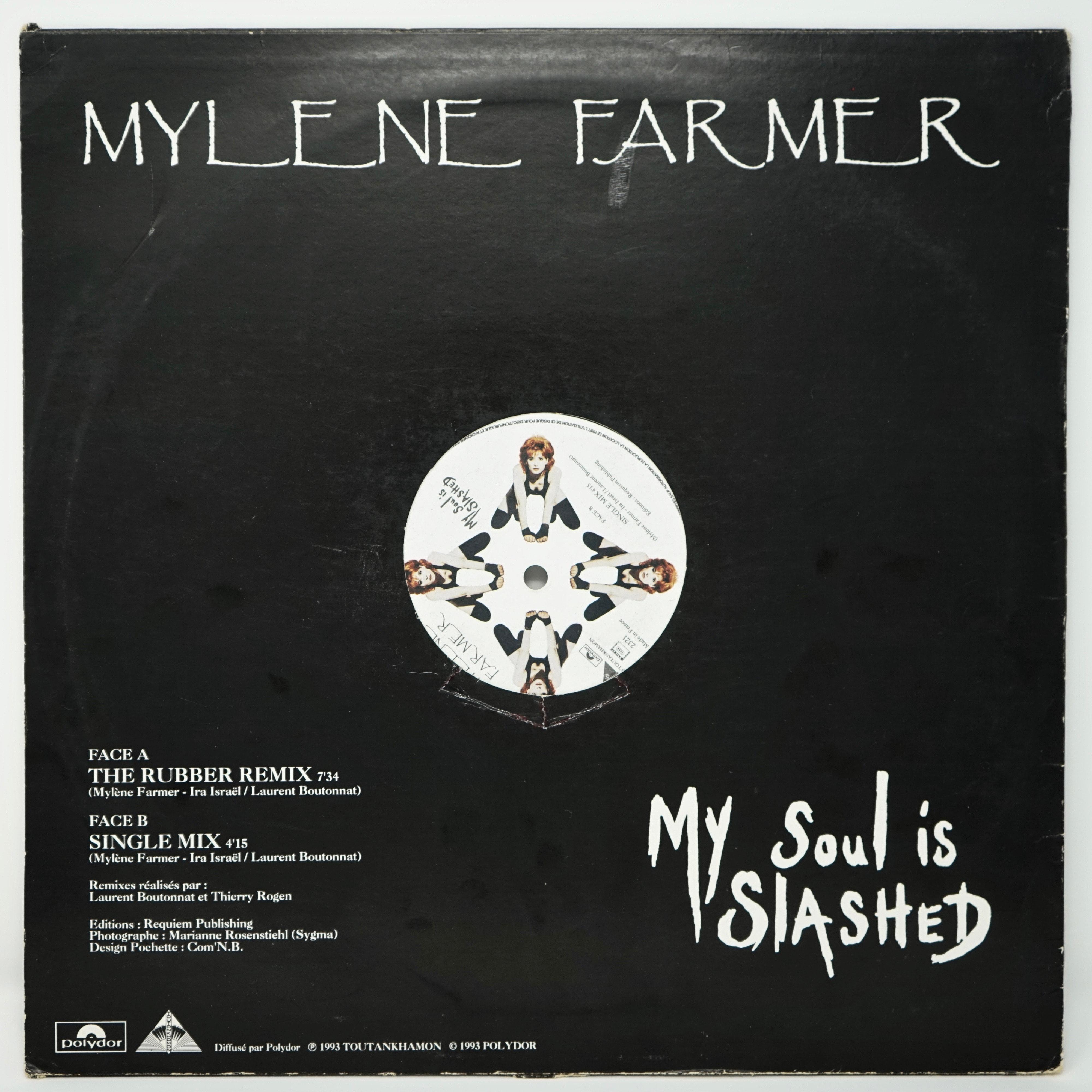 Vinyle Maxi Single de Mylène Farmer My Soul Is Slashed Verso