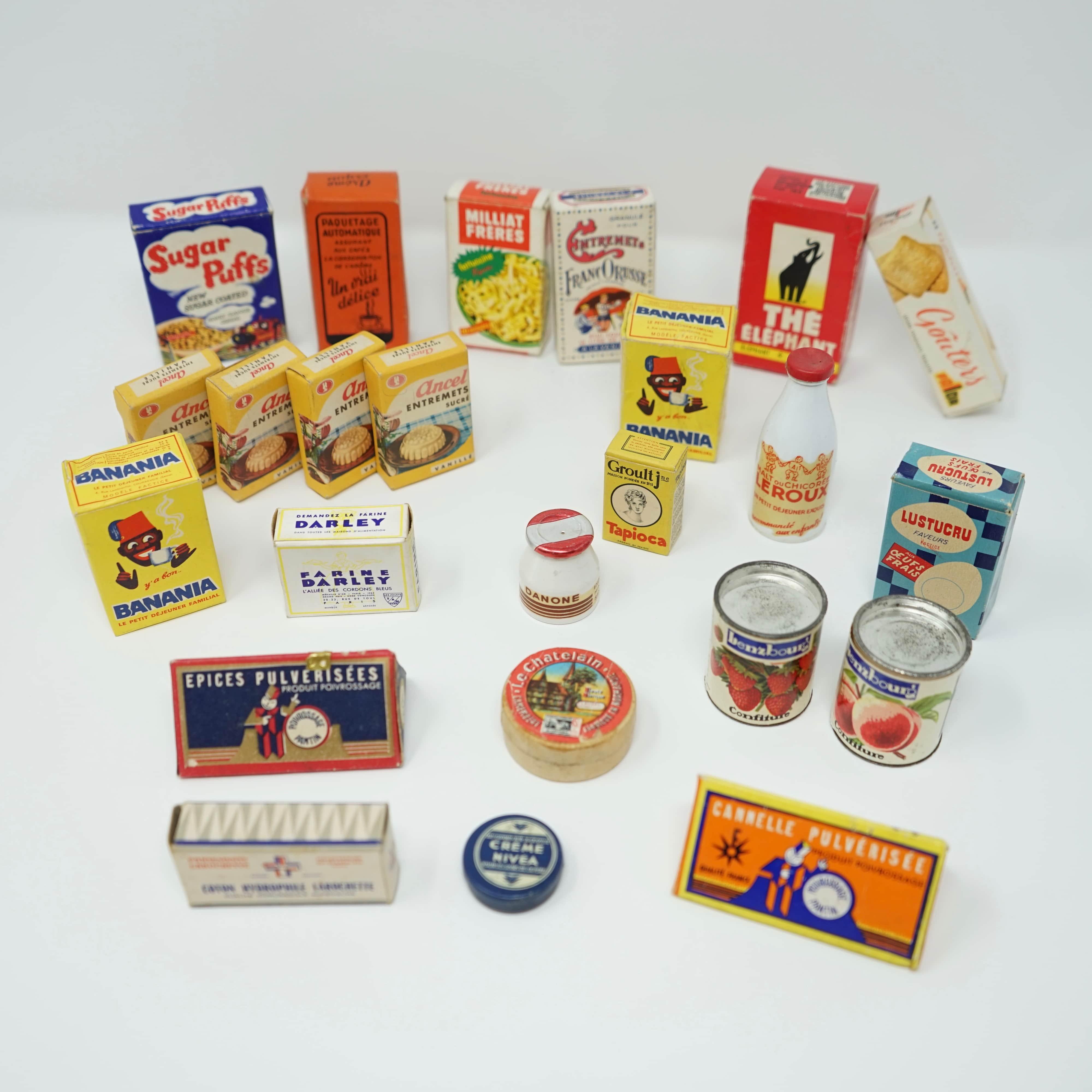 Lot de Boites d'Épicerie Publicitaires Banania Nivea Danone Kellogg's