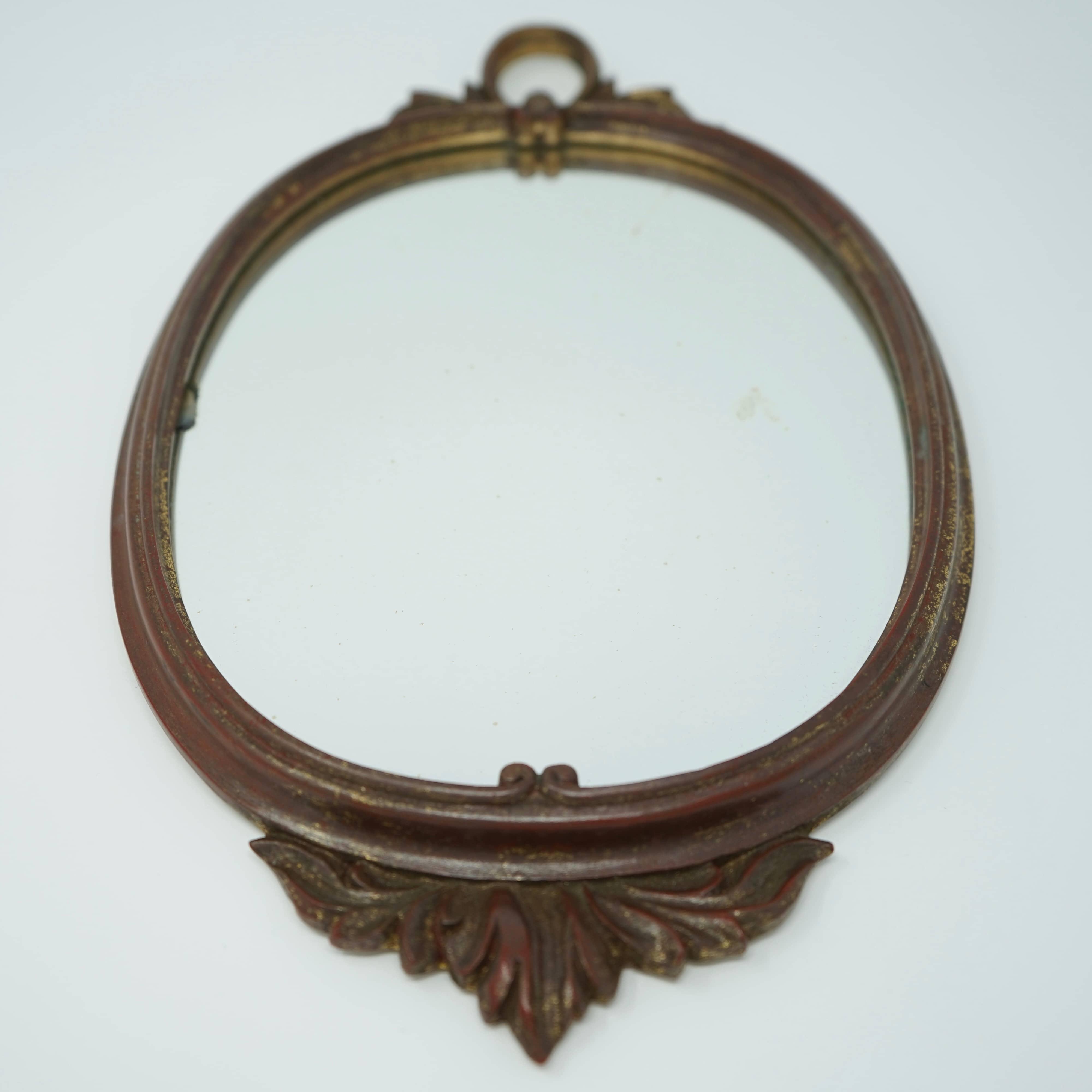 Miroir Ovale Ancien en Bois