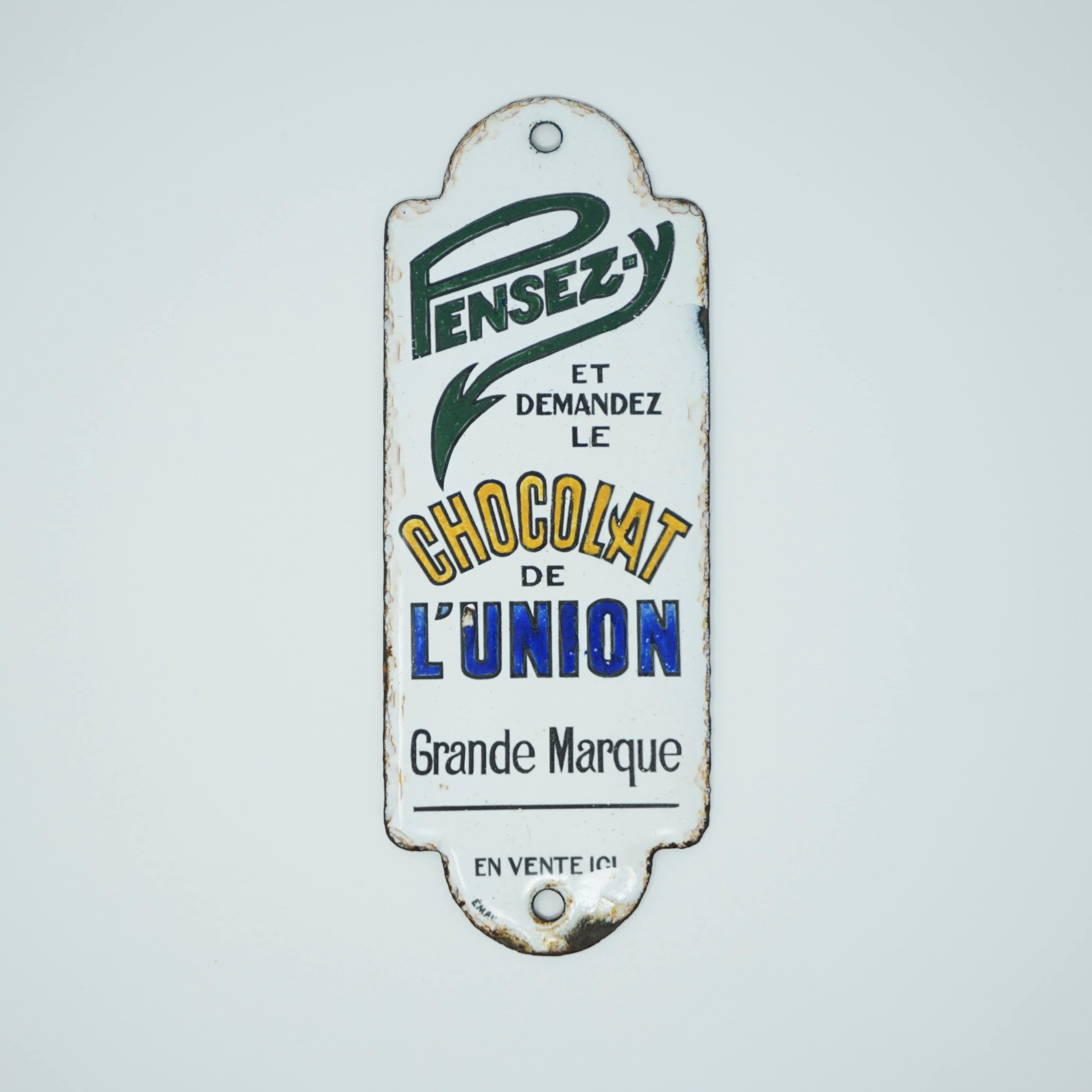 Plaque de Propreté Chocolat de l'Union Blanche