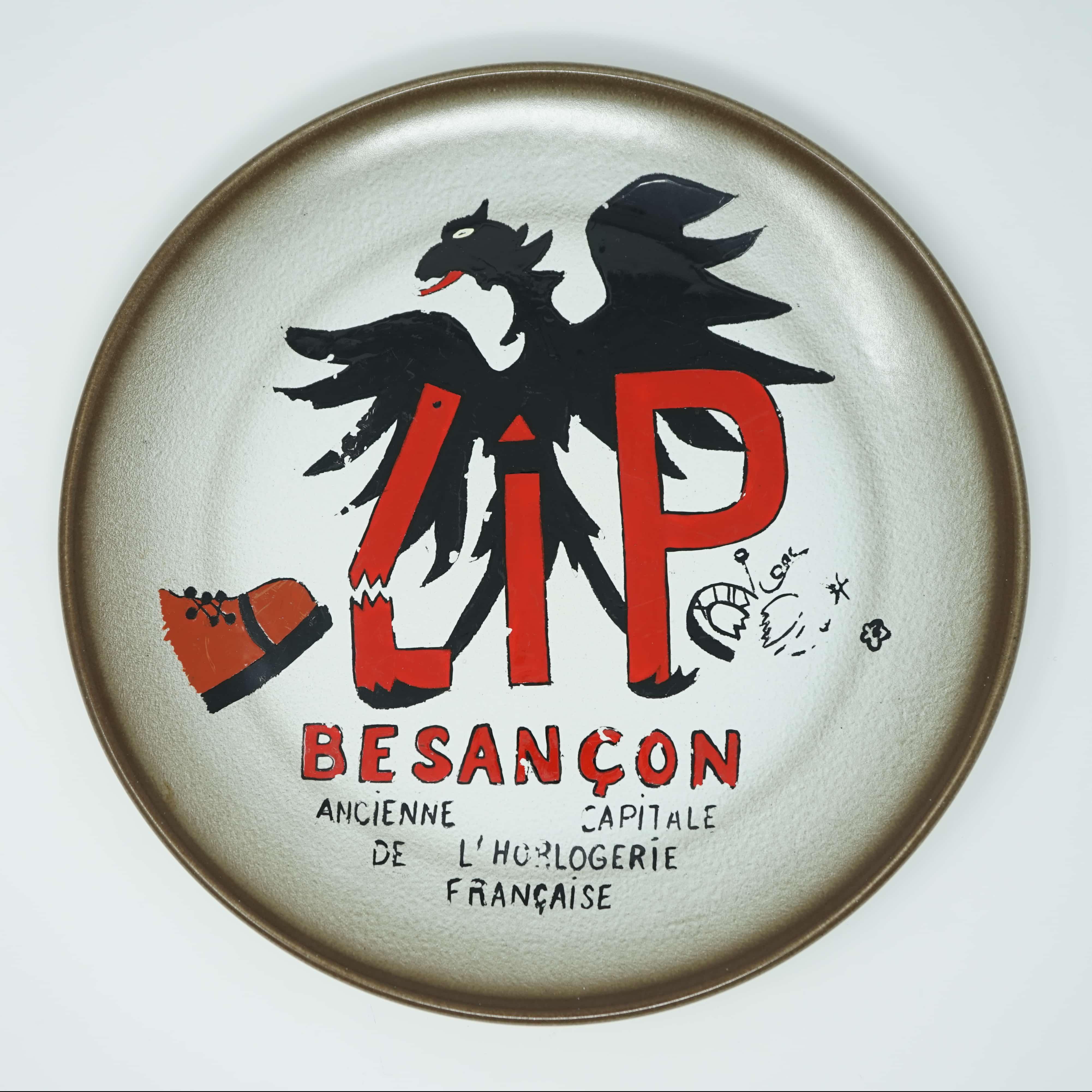 Assiette Conflit LIP 1977 Inscription Besançon Ancienne Capitale de l'Horlogerie Française