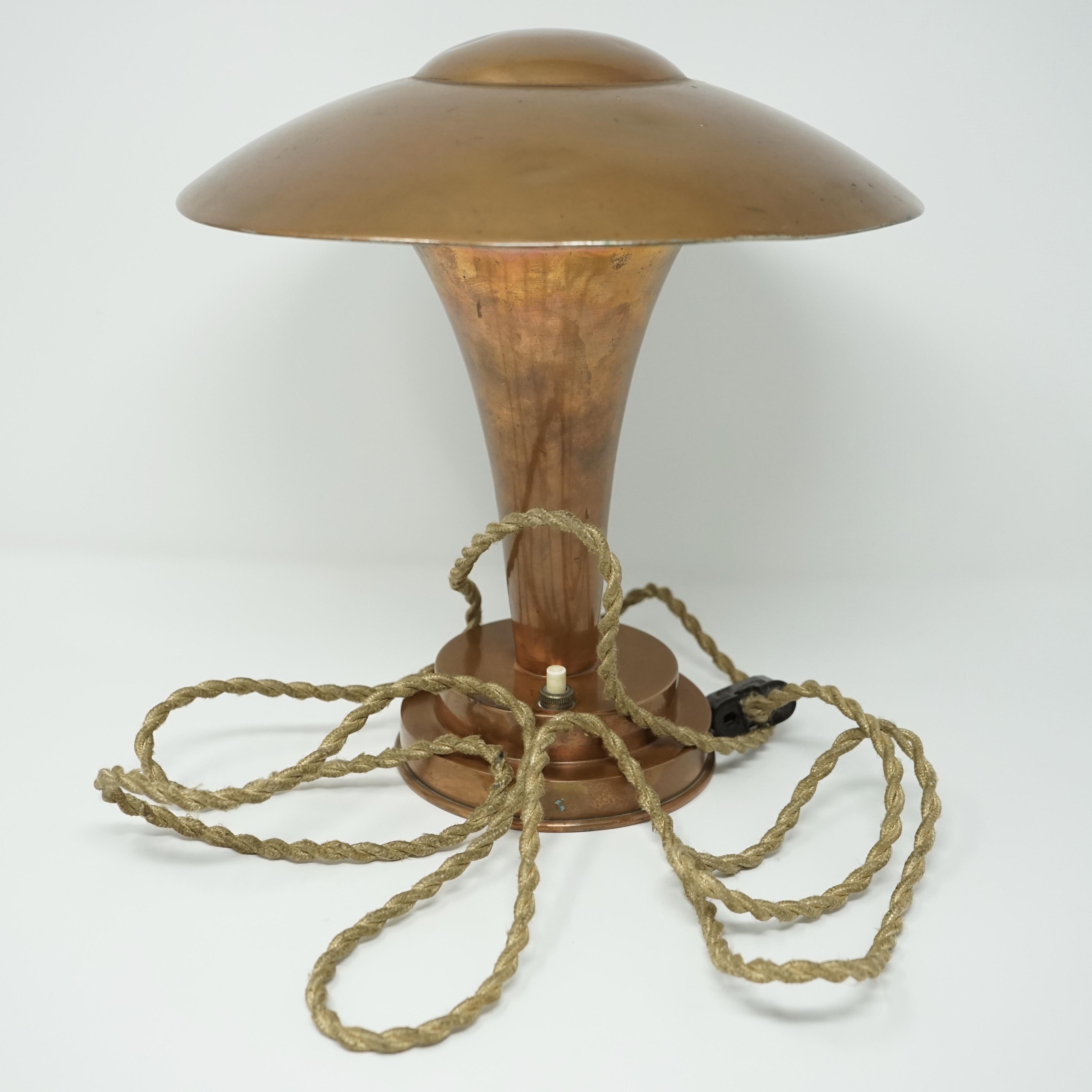 Lampe Champignon en Cuivre Années 30