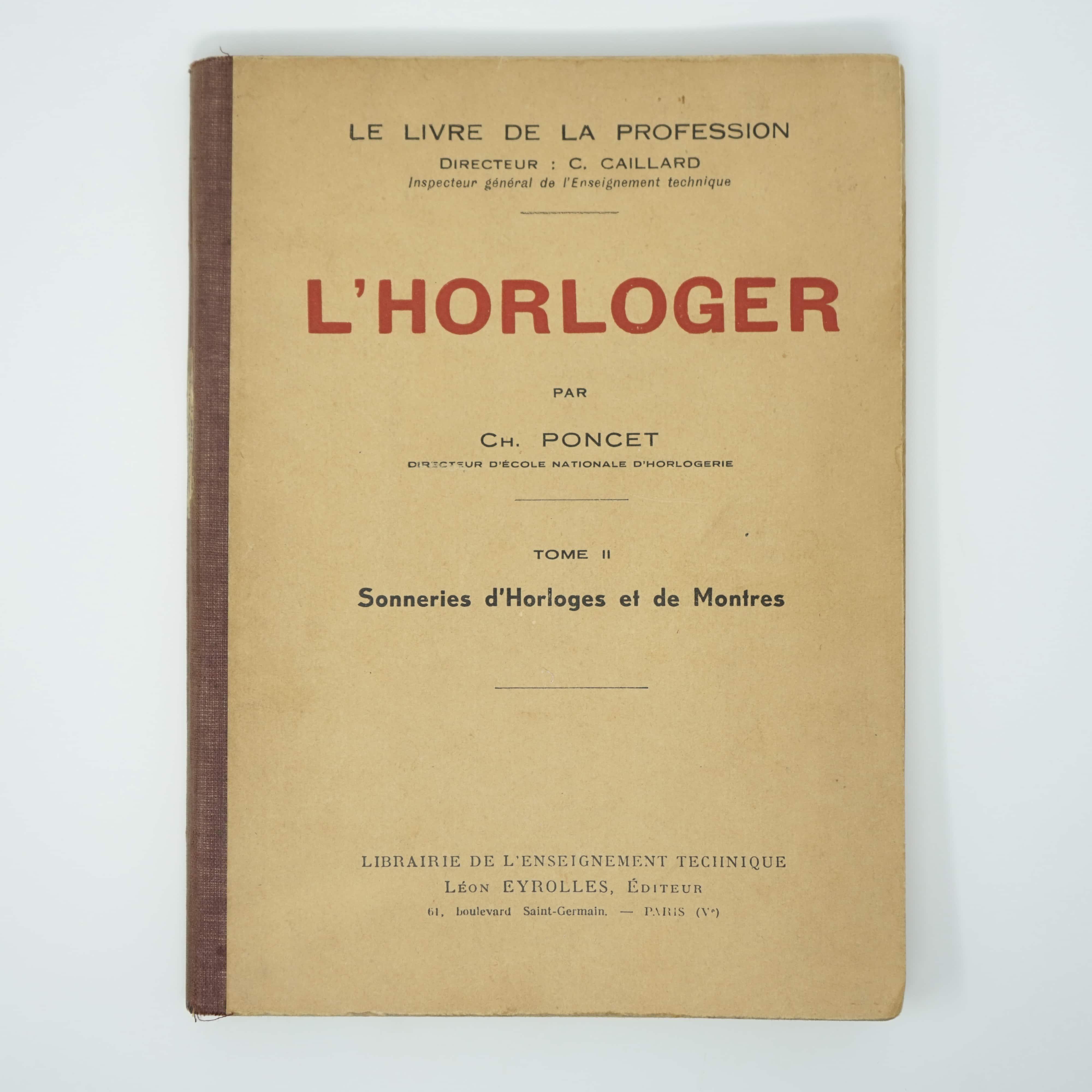 Livre Ancien L'Horloger par Charles Poncet Tome 2 Couverture