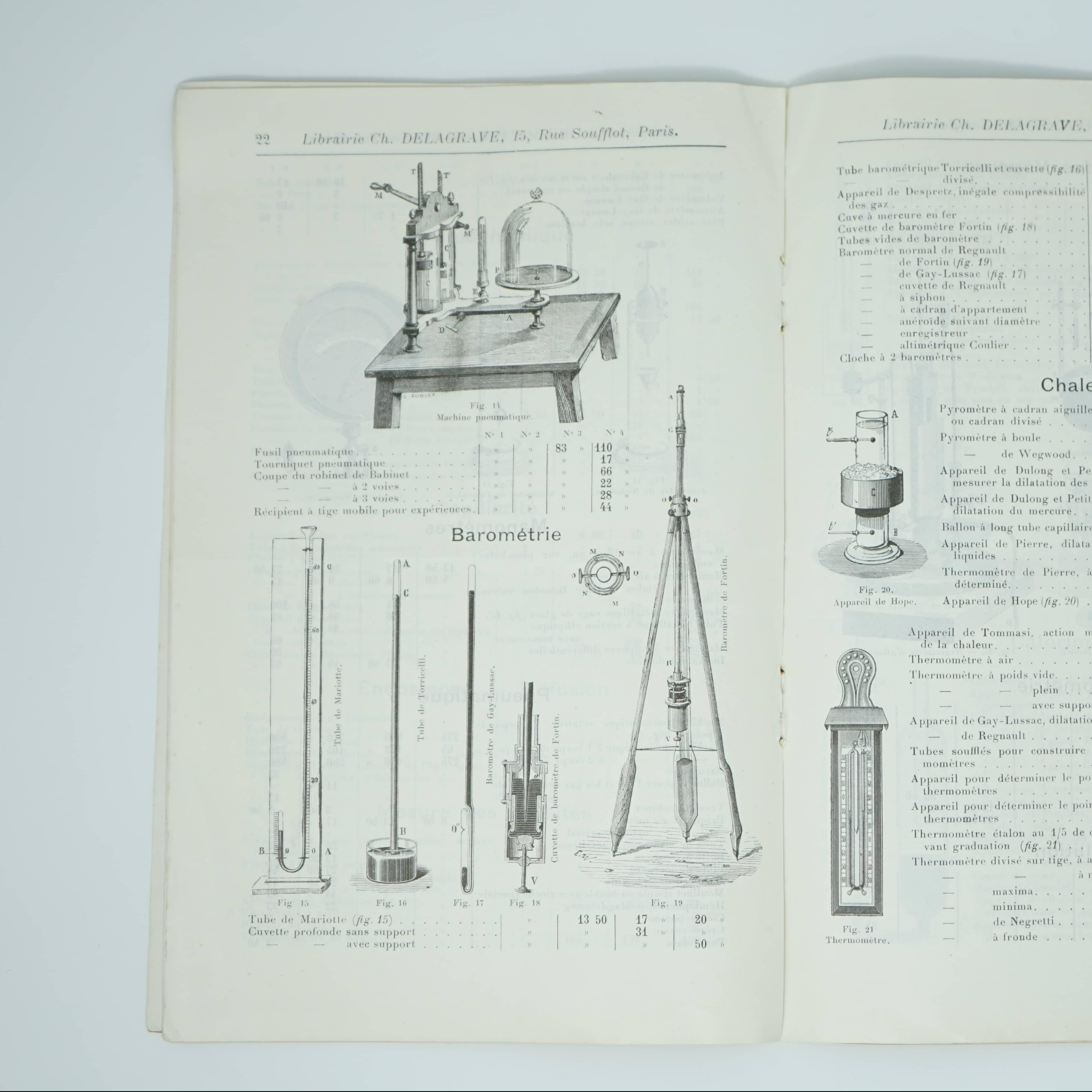 Catalogue N°5 bis d'Appareils de Physique intérieur