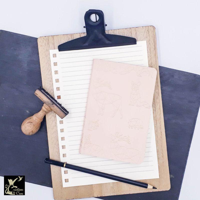 carnet A6 papier italien rose tendre origami doré