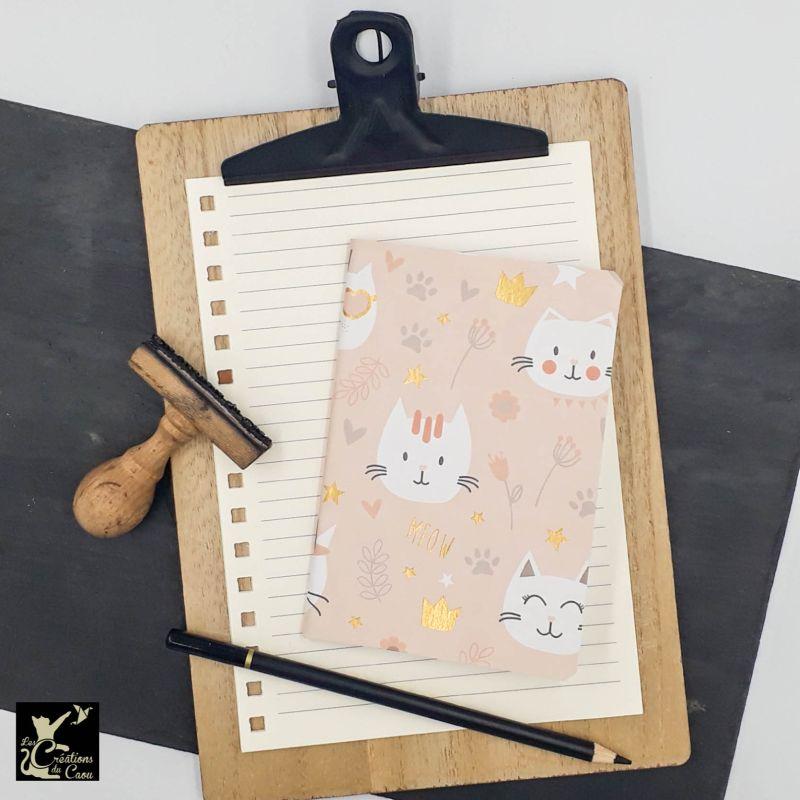 carnet A6 papier italien rose tendre chat kawai
