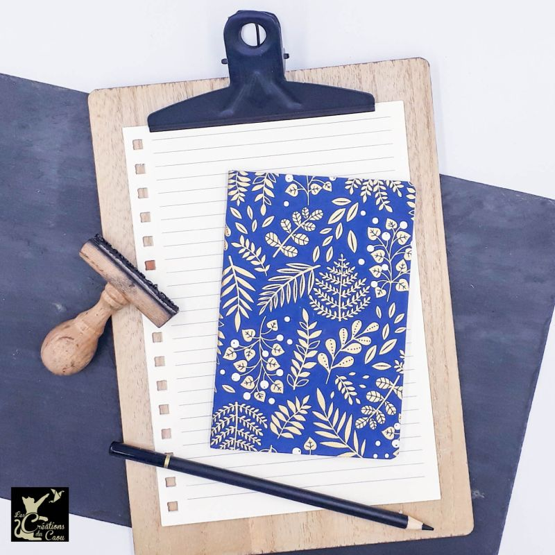 Carnet A6 - Bleu marine - Végétaux or