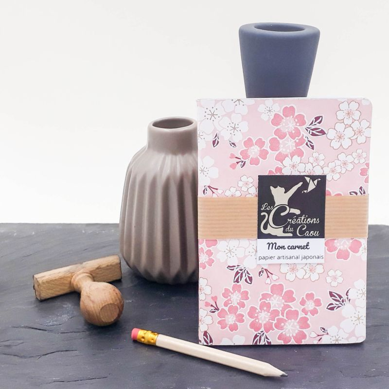 Carnet A6 - Rose - Fleurs de pruniers