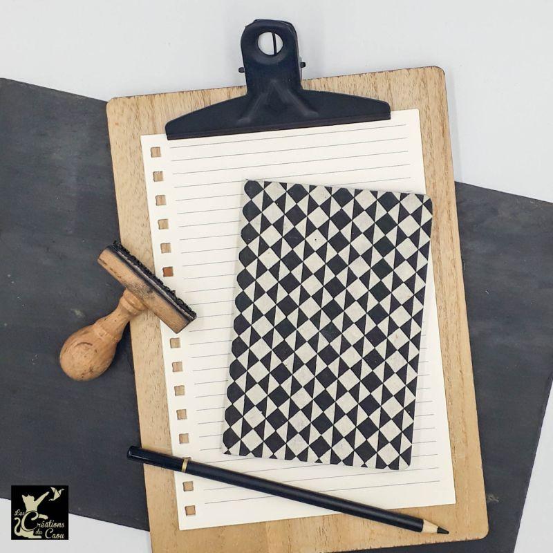 carnet A6 nepalais motifs géométriques noirs blancs