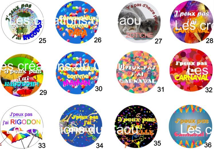 Images pour badges carnaval fait main personnalisable.