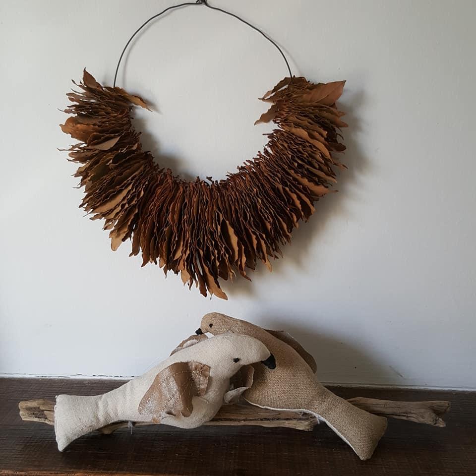 oiseaux en tissus, technique mixte, à poser où bon vous semble, matières naturelles, création Fred Petit