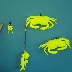 pêche décorative de trois poissons, décoration murale, Fred Petit,made in France