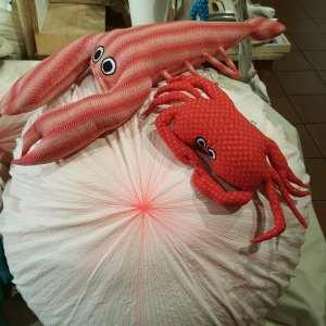 Pouf déhoussable oursin, coussin crabe et coussin homard
