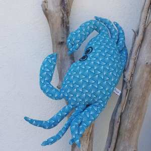 Petit coussin crabe turquoise