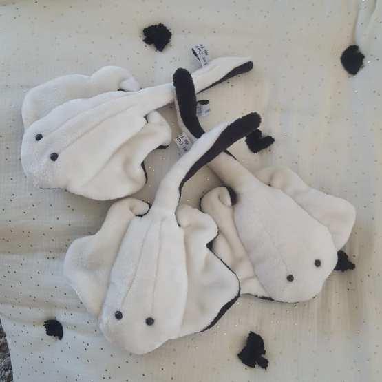 raies, doudous, black & white, raies noires et blanches, poisson tissu, créations textiles, Fred Petit