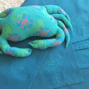 serviettes de table broderies algues ton sur ton.