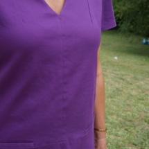robe chasuble sur mesure en coton à poches passepoilées