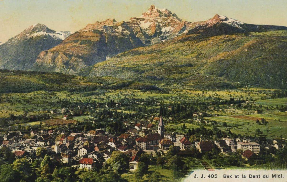 Carte postale. Bex et la Dent du Midi